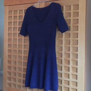 Short sleeve, formfitting rayon blue V-neck dress